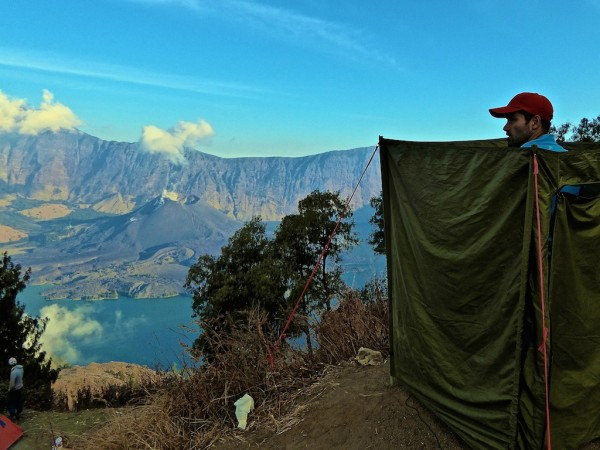 Guide to Senaru: toilet tent view of active Mount Rinjani from volcano rim