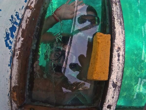 Snorkelling in gay friendly Gili islands glass bottom boat