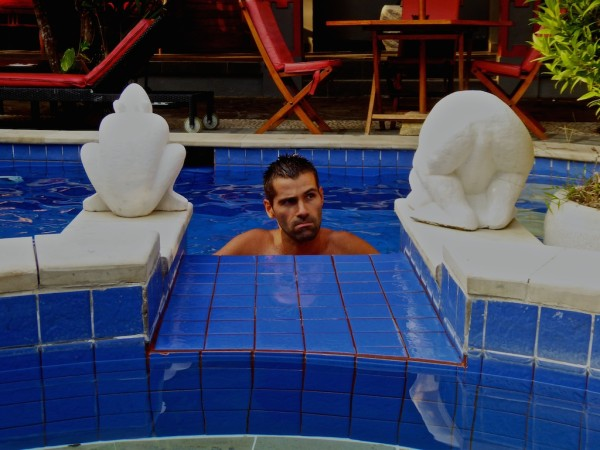 Seb in pool of gay hotel Spartacvs in Seminyak Bali