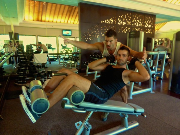 Working out at St. Regis gym