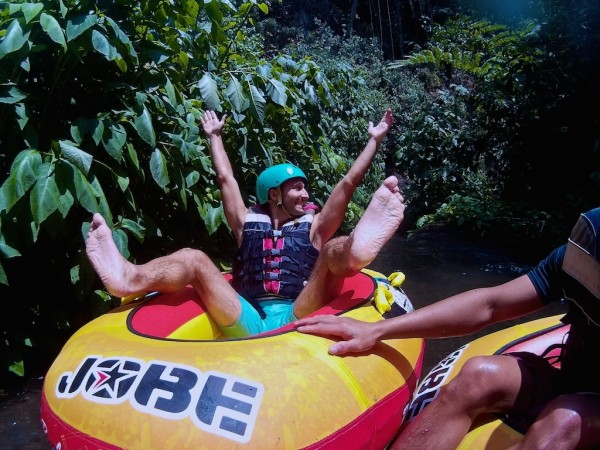 Stefan tubing in Ubud Bali with Bali Quad Discovery Tours