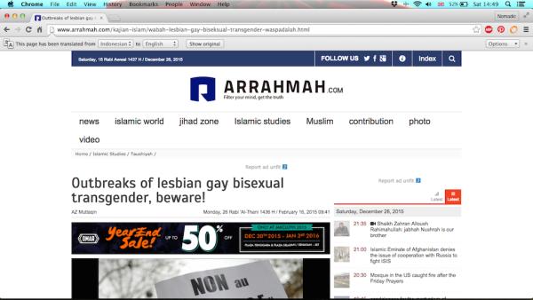 Gay Muslim in Indonesia Islamic media Arrahmah