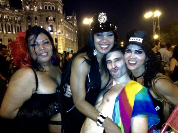 Gay Spain Madrid Orgullo Pride Stef with drag queens