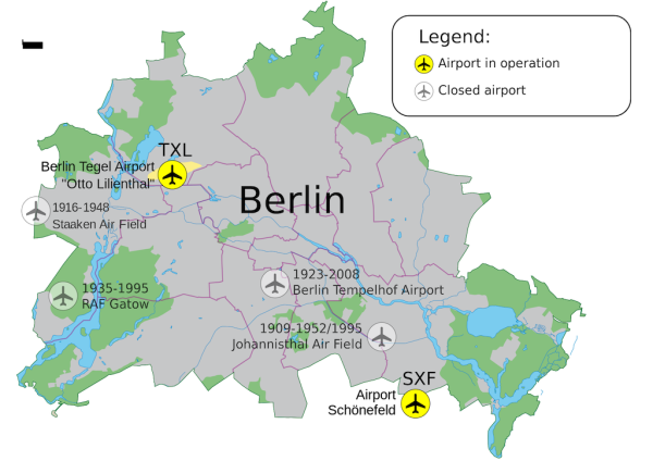 How to get from Schoenefeld airport to Berlin city central map