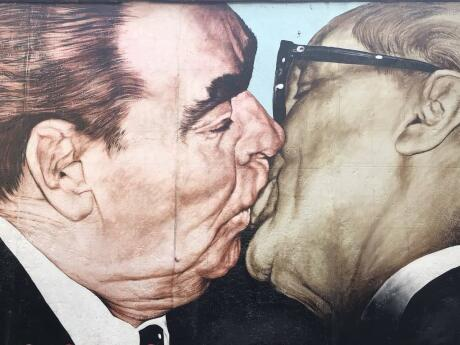 East Side Gallery two men kissing Brezhnev kissing Honecker