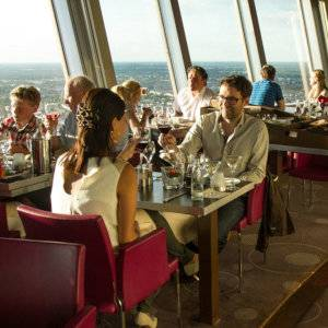 Have a delicious lunch with the most incredible views over Berlin the the TV Tower's Sphere restaurant.