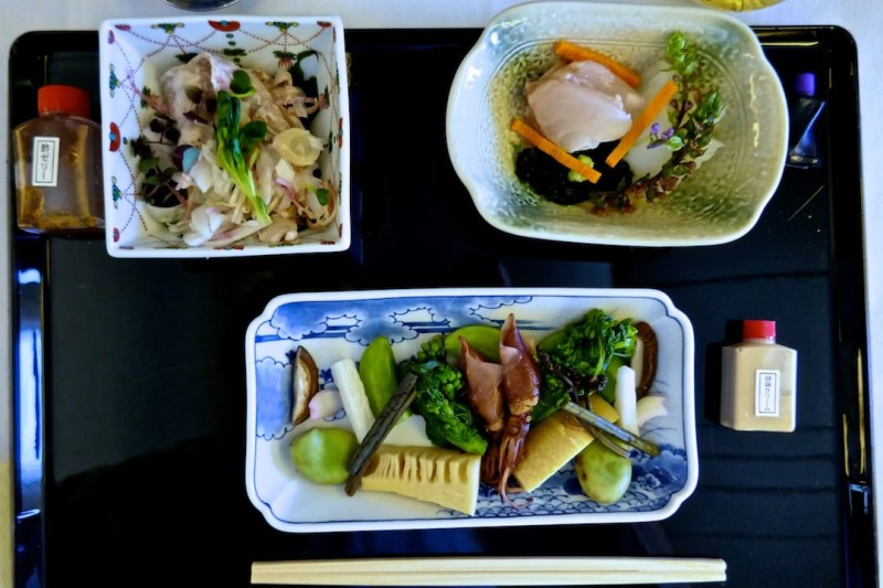 ANA business class review Japanese washoku meal