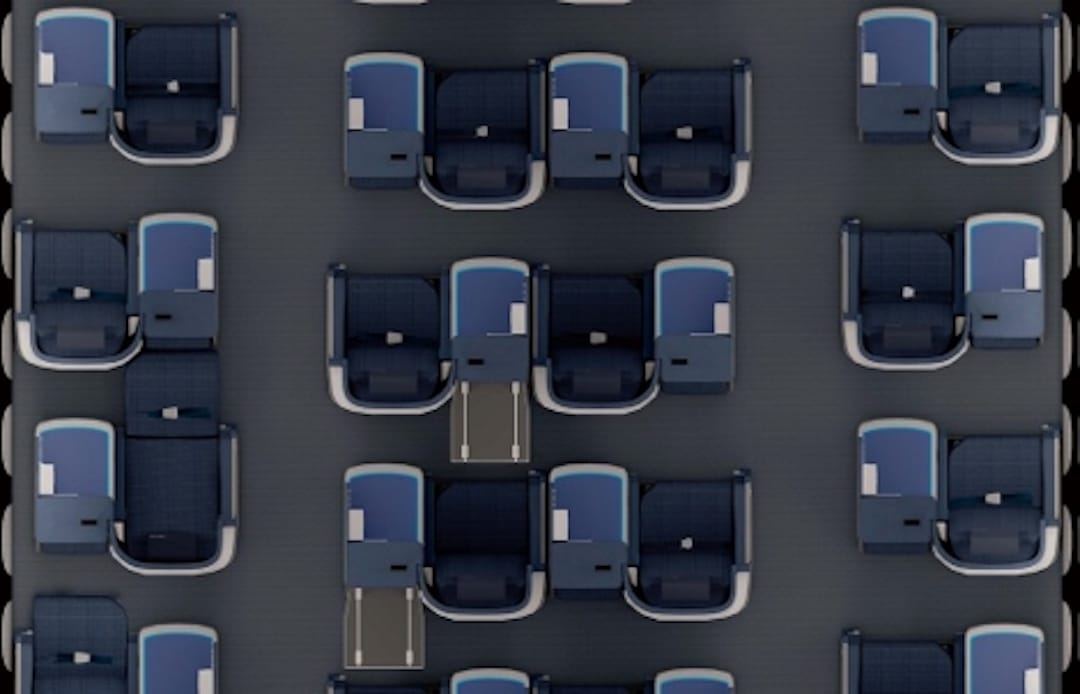 ANA business class review staggered seating plan