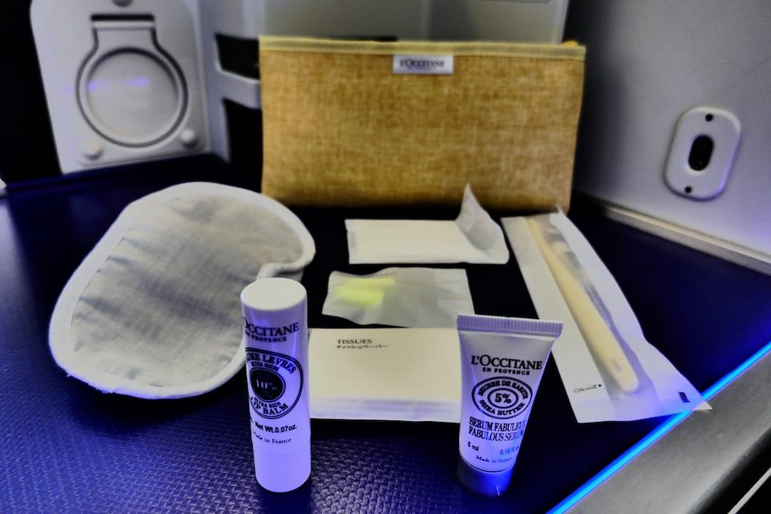 ANA business class amenities during flight