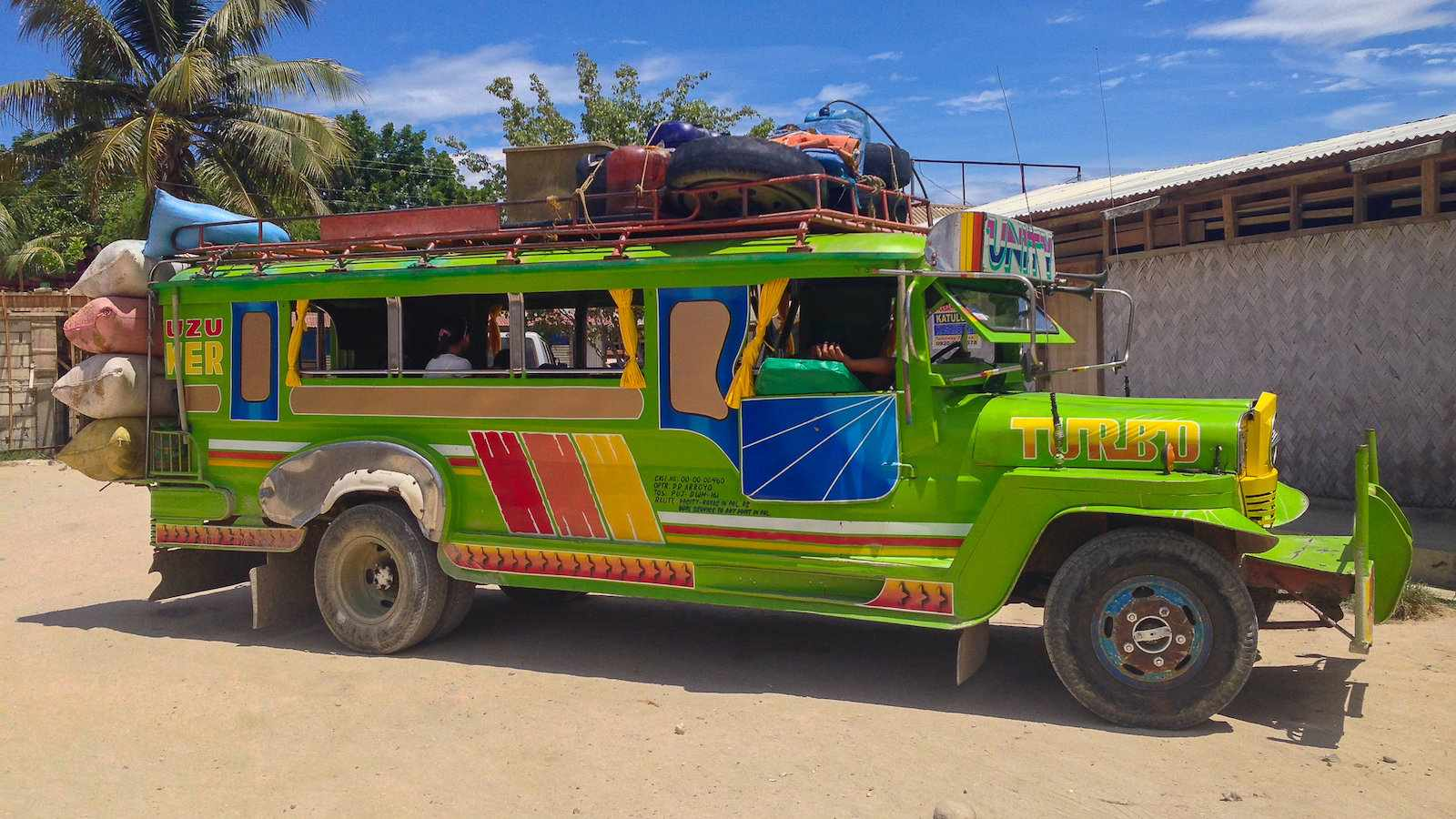 We love using the colorful and kitsch jeepneys to get around in the Philippines