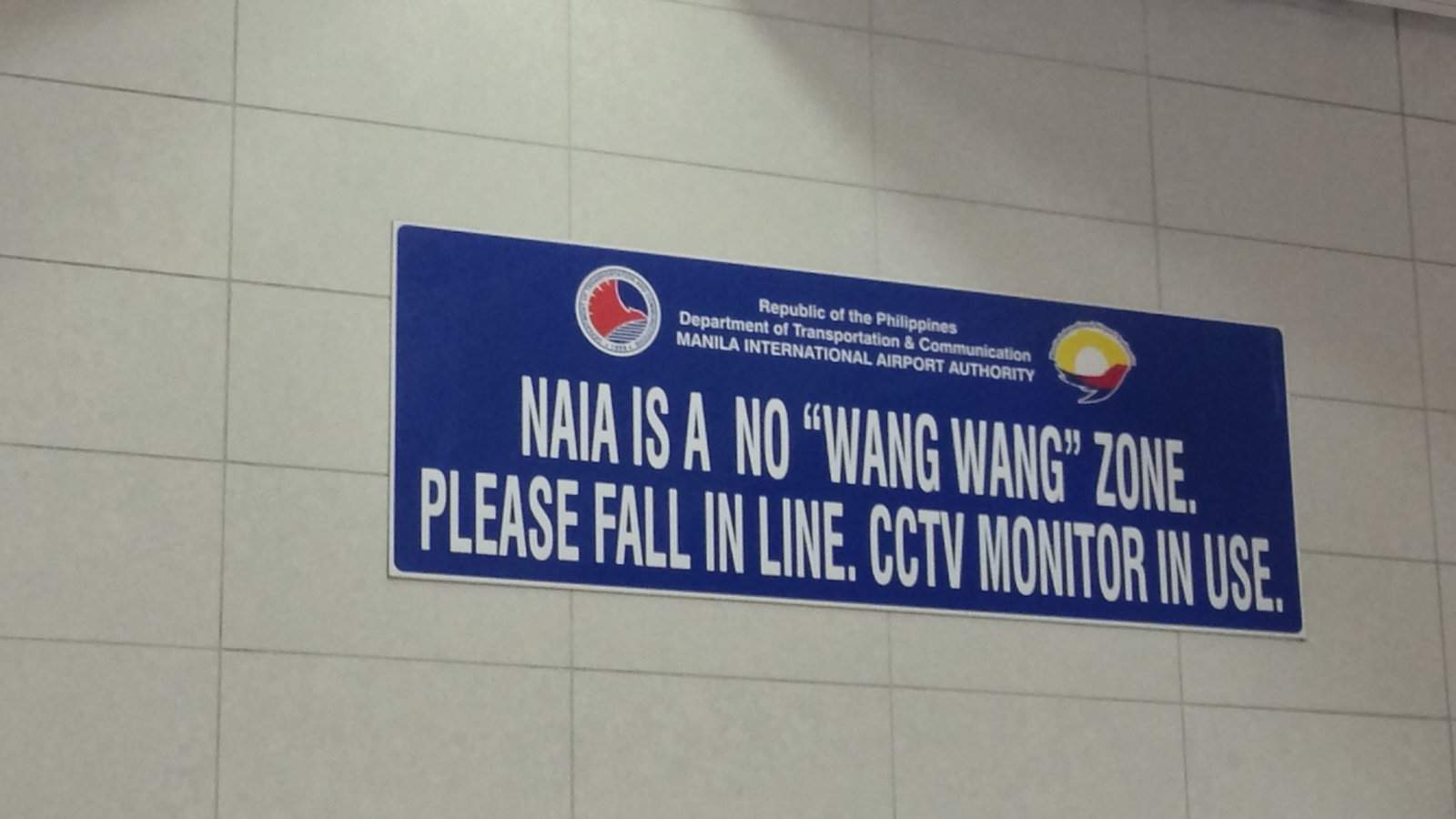 """While it may seem to be something naughty, a """"no wang wang"""" sign in Malaysia means don't cute the queue!"""