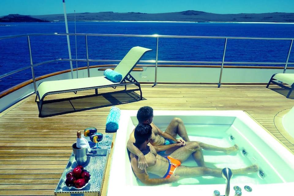 Galapagos gay cruise to the Galapagos jacuzzi