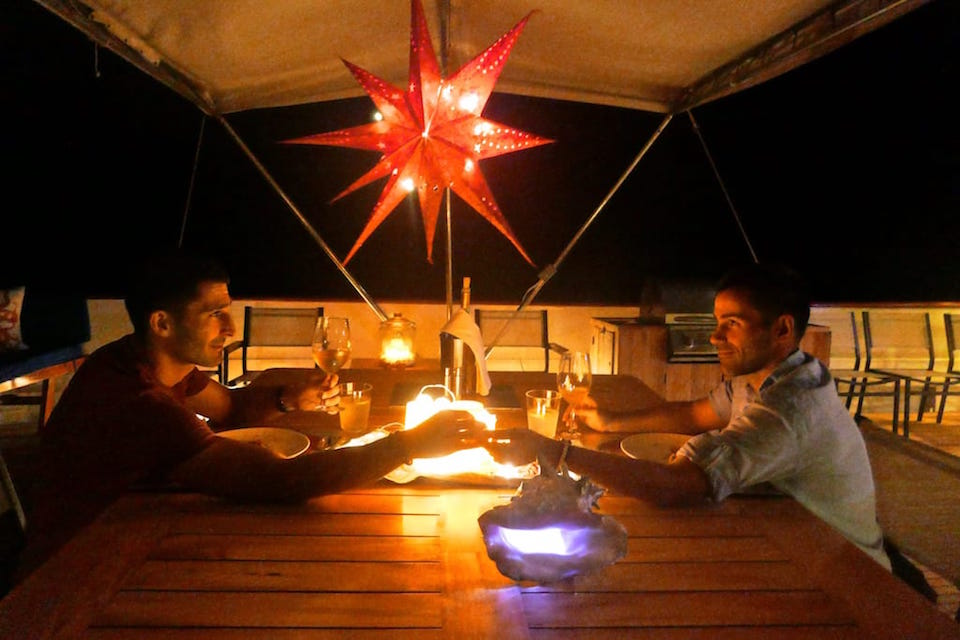 galapagos luxury cruise romantic al fresco dinner
