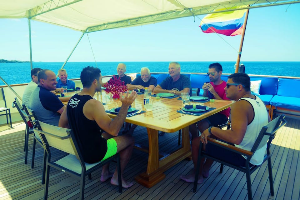 gay cruise to the Galapagos lunch on the Passion