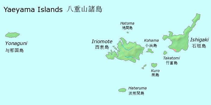 Map of yaeyama islands