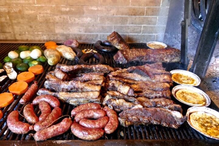 The best food of Argentina - asado barbecue.