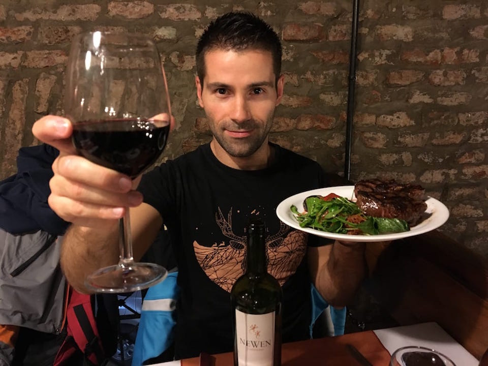 Argentinian steak with chimi churri sauce and Malbec
