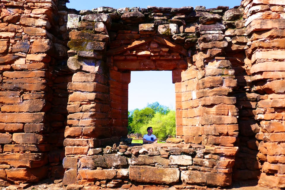 Visiting the Jesuit Ruins at San Ignacio on our road trip in northeast Argentina.