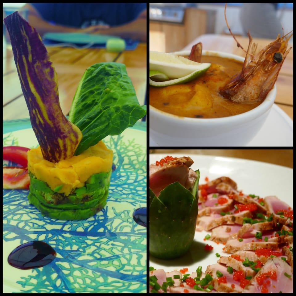 Gourmet food on Galapagos luxury cruise