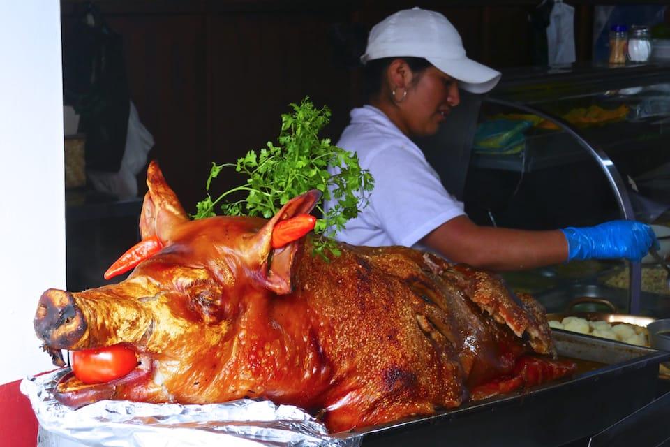 Hornado famous foods in Ecuador