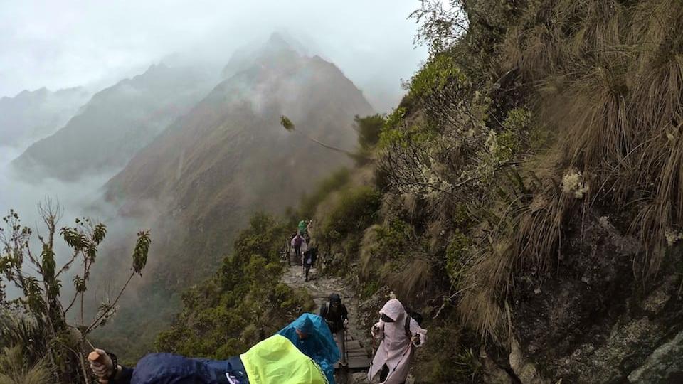 Inca trail in January rainy season view