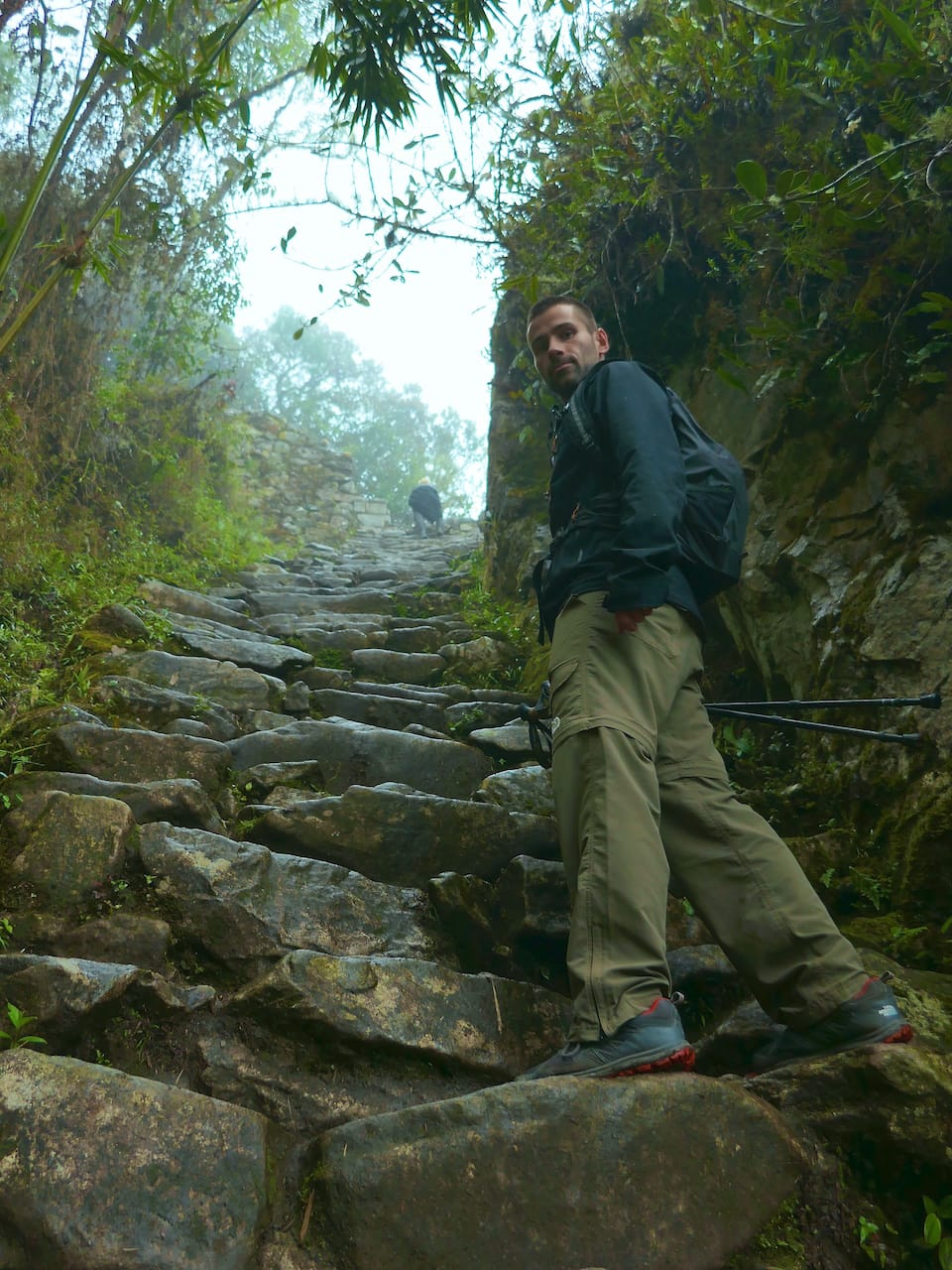 Inca Trail in january steep steps Seb