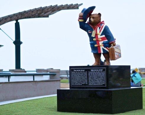 Paddington Bear statue in Miraflores Lima