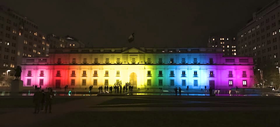 Gay life in Chile moneda palace rainbow lights santiago