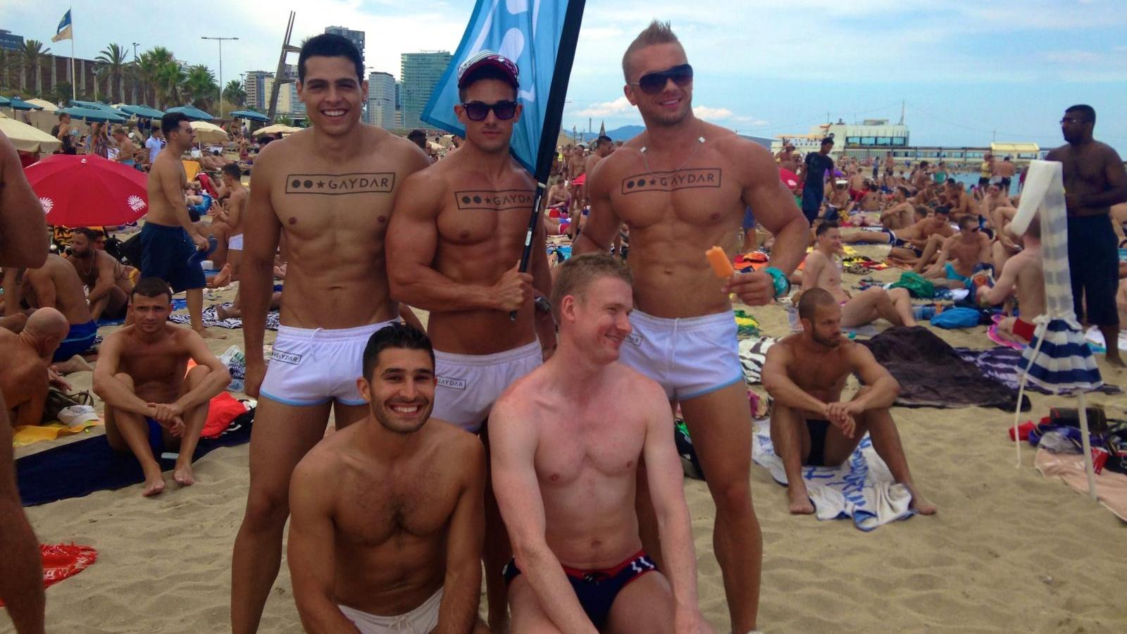 Chilling out with our friends, one the gay beach in Sitges