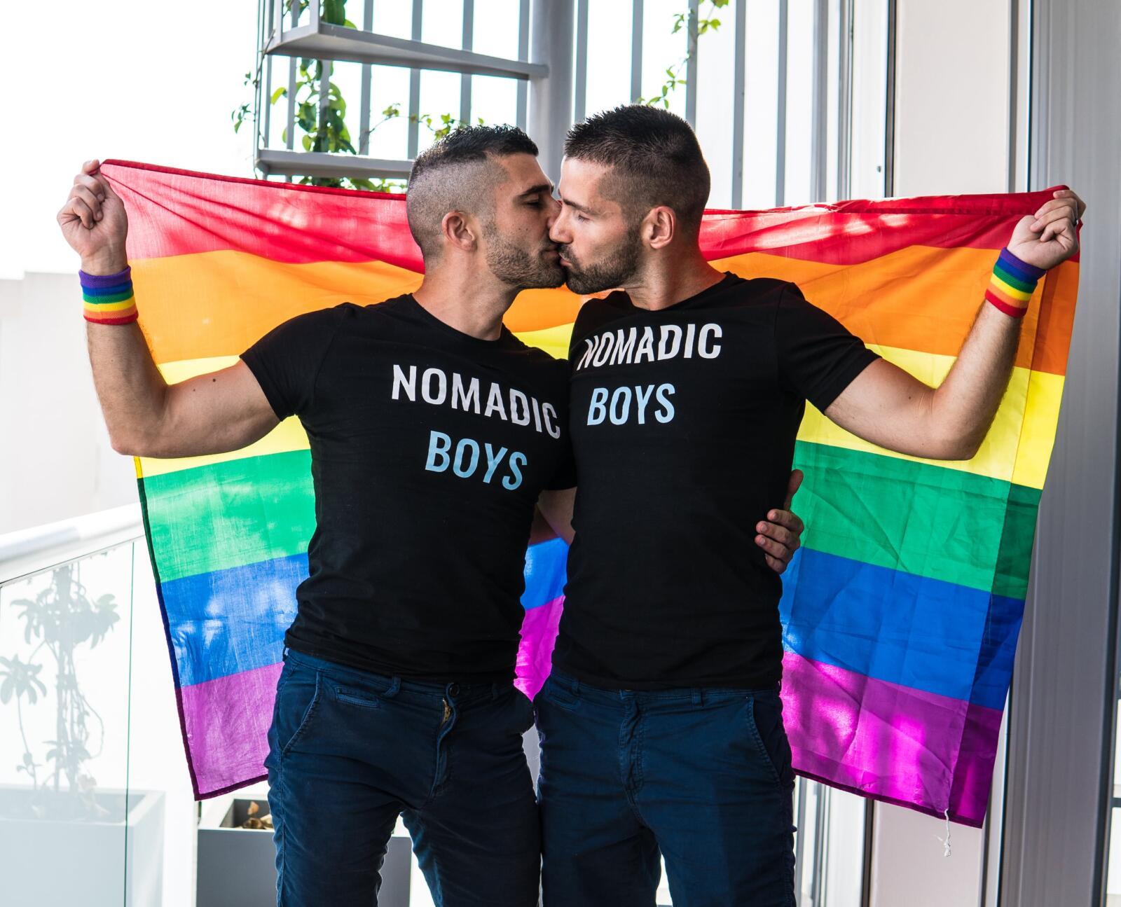 Nomadic Boys rainbow flag at Cyprus Pride in Nicosia