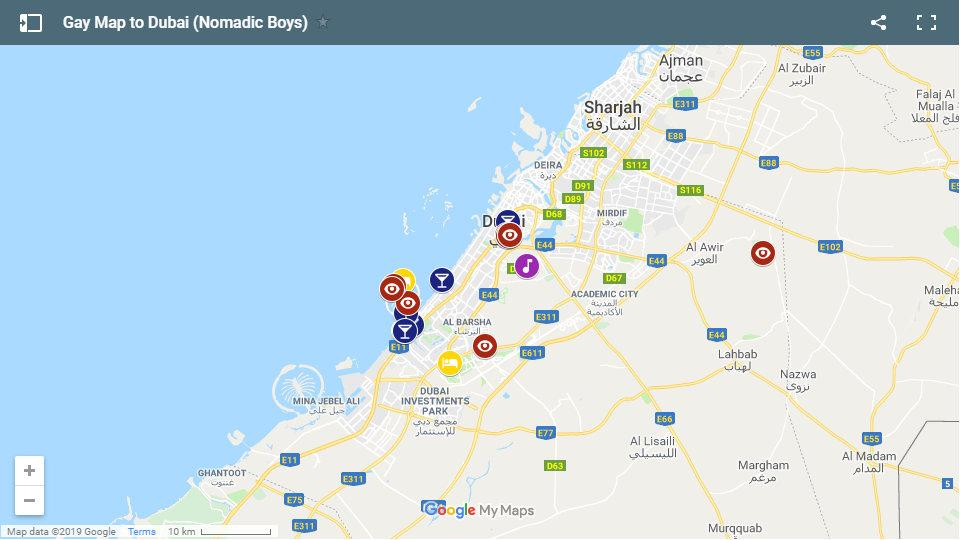 Our map of the best gay friendly accommodation, bars and activities in Dubai.