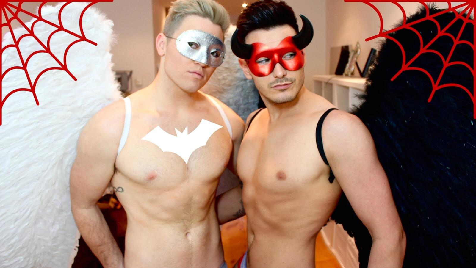 angel and devil gay couple halloween costumes