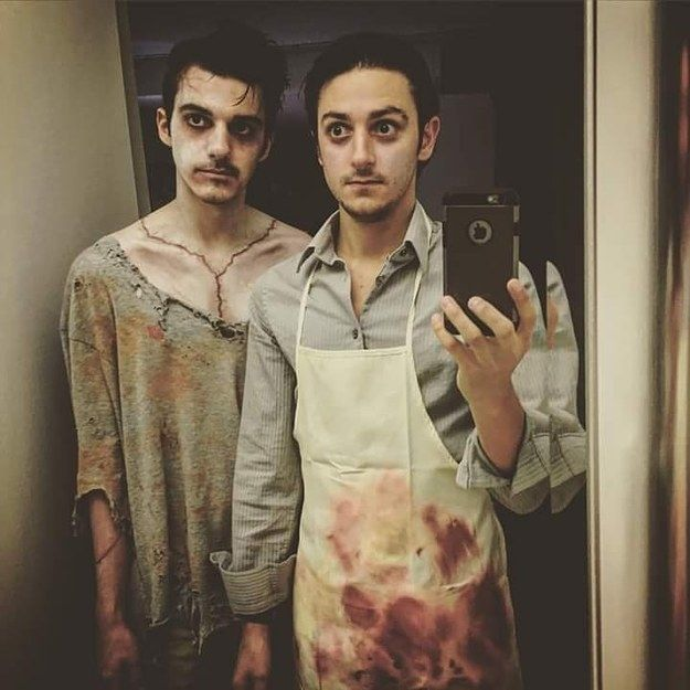 Frankenstein sexy gay couple Halloween costumes