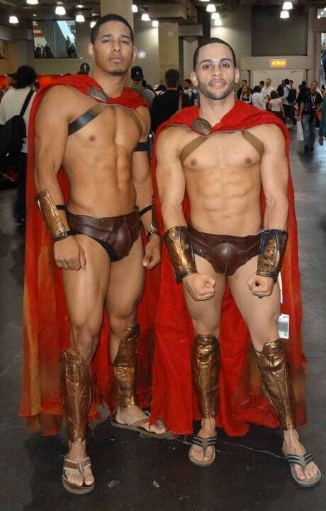 Matching gladiators one of best gay couple halloween costumes