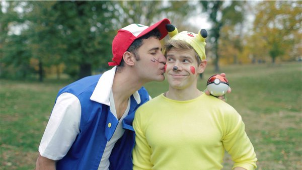 Pokemon inspired gay couple halloween costumes