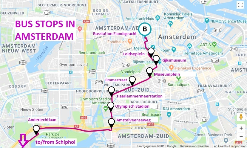 Airport Express bus route from amsterdam airport including all bus stops