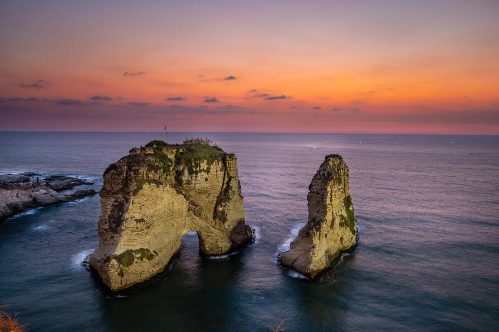 Pigeon Rocks in the Raouche neighbourhhood of downtown Beirut at sunset