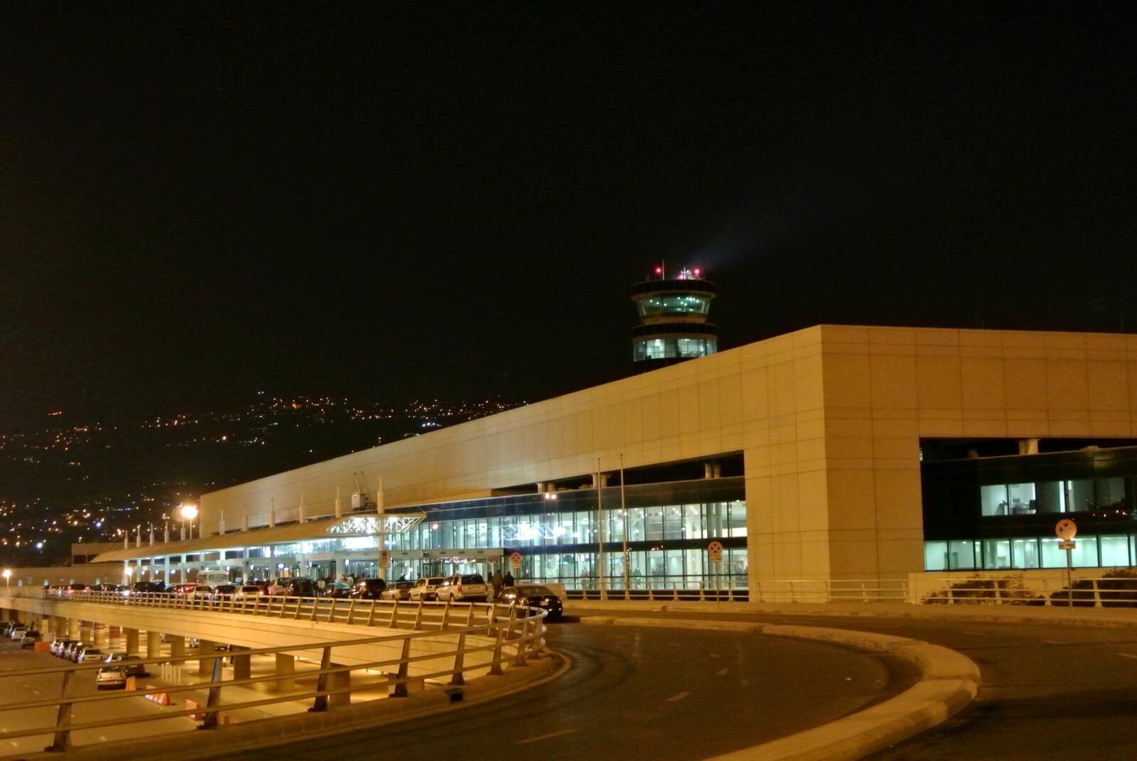 The Beirut Rafic Hariri airport at night