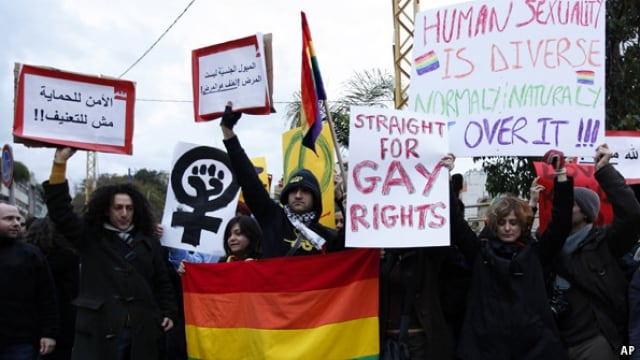 Protests in Beirut about LGBTQ rights