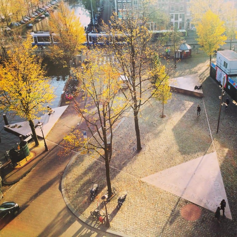 The Homomonument memorial of Amsterdam in full taken from above