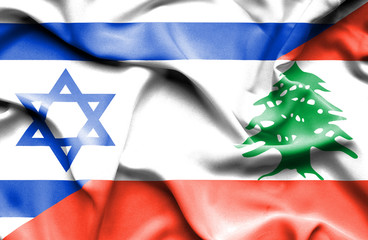 Israeli and Lebanese flags side by side