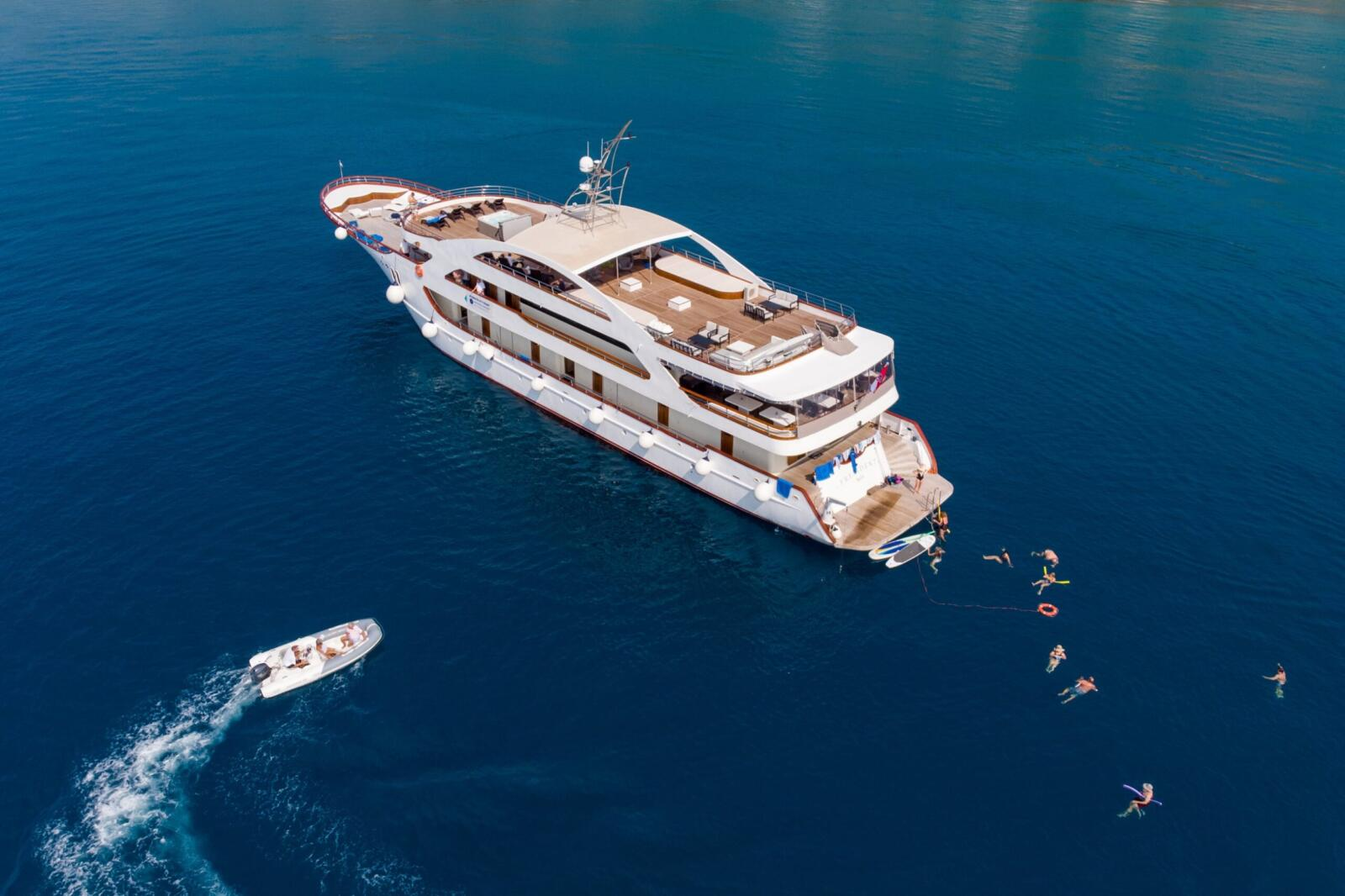 Swimming in the sea from luxury yacht in Croatia