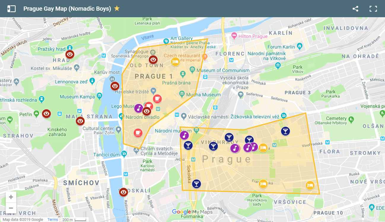Gay map of Prague with the best gay hangouts including gay bars, clubs, hotels and things to do