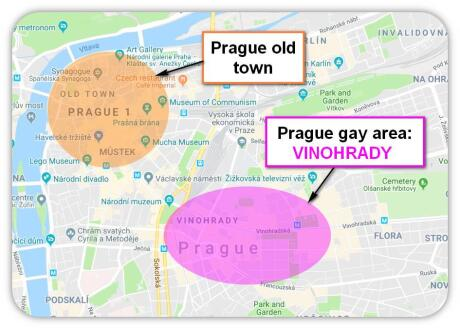 The gay area of Prague is located in Vinohrady gay neighbourhood