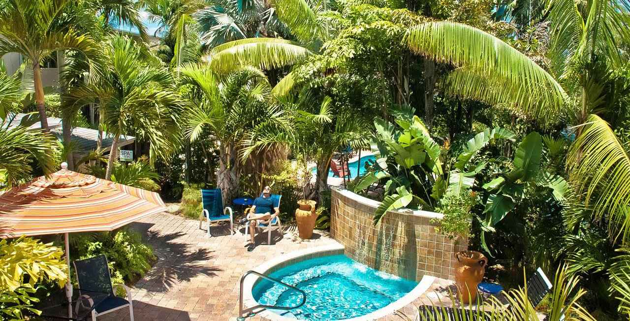 The beautiful gardens and pools at Cabanas, a gay clothing optional guesthouse in Fort Lauderdale, Florida.
