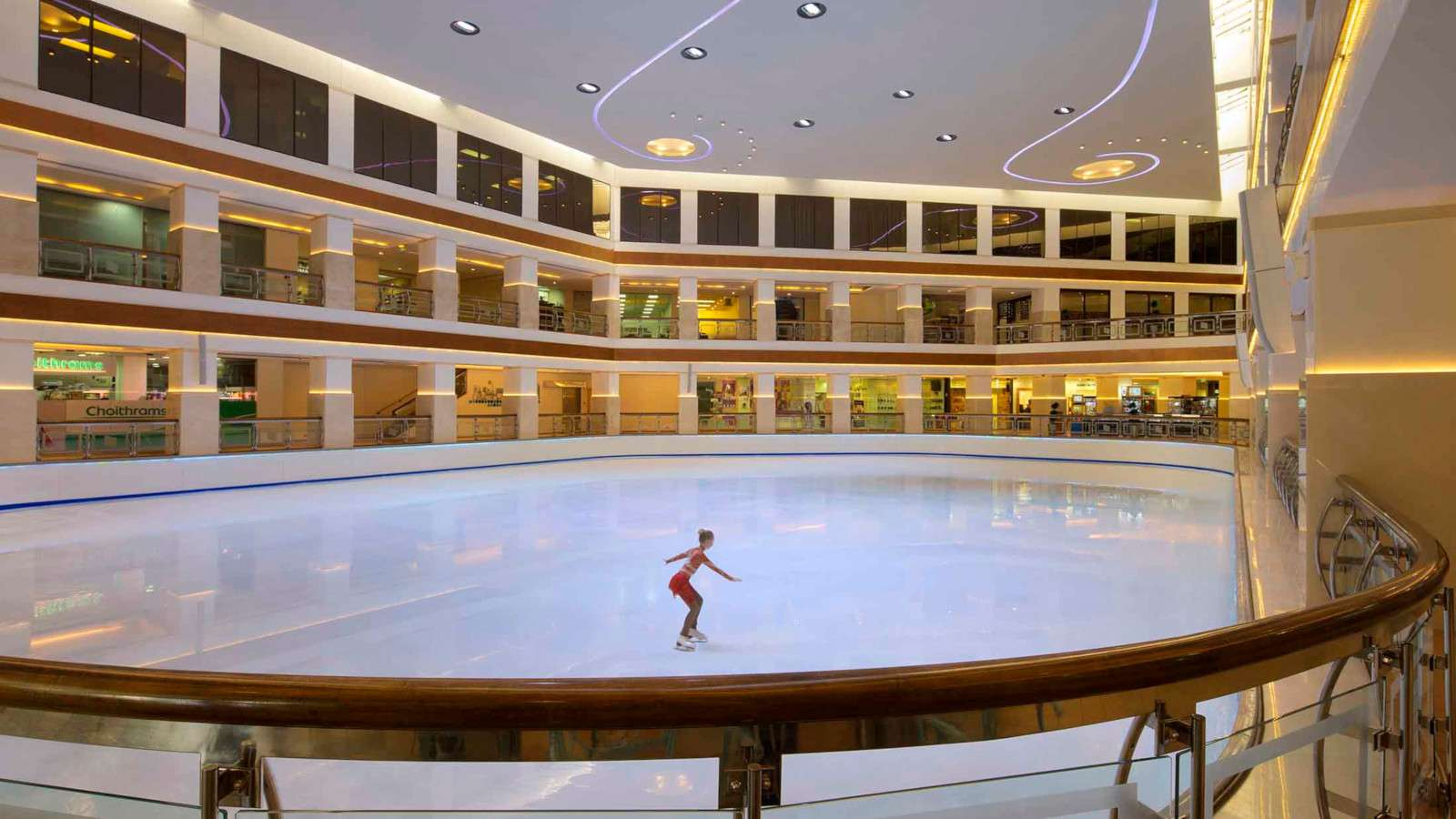 The Hyatt Regency in Dubai is a gorgeous and gay friendly hotel with some surprising extras, like this indoor ice-rink!