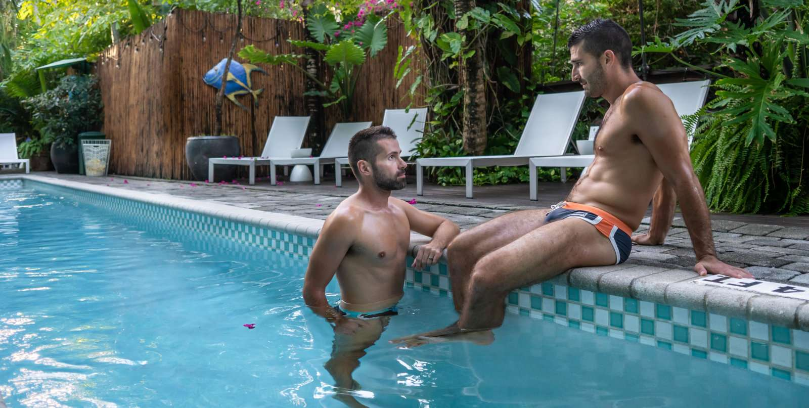 The beautiful gardens and pools at Cabanas, a great gay accomodation in Fort Lauderdale, Florida.