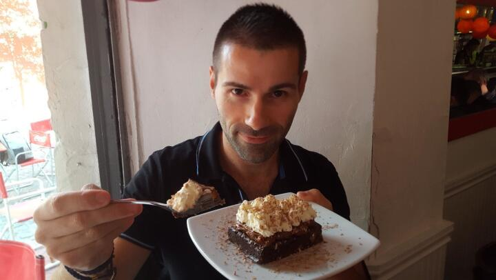 Famous brownies at the Pride gay cafe in San Telmo
