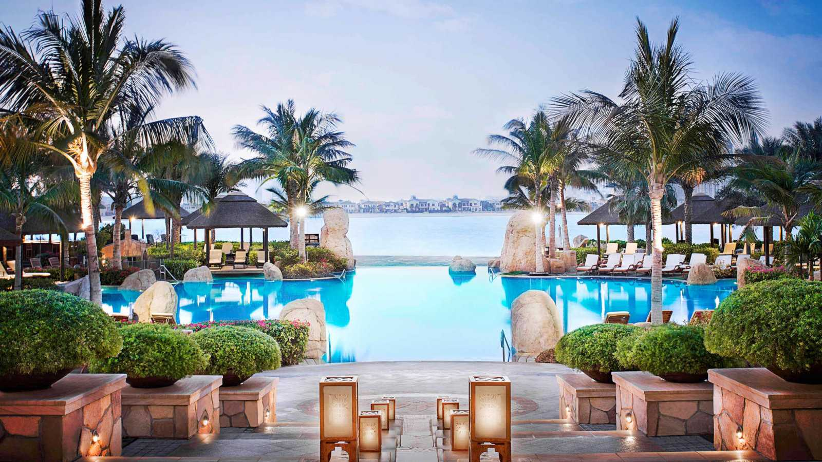 Stunning views over the lagoon-style pool at Sofitel the Palm, a gay friendly hotel in Dubai.