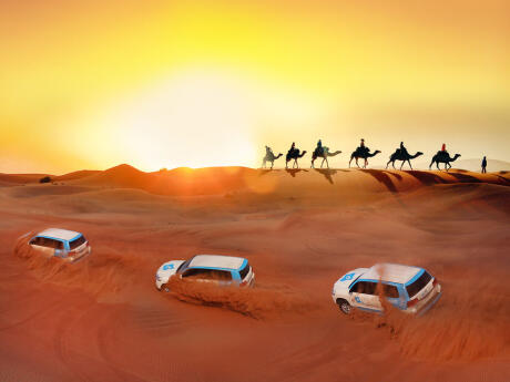 Gay travel to Dubai - Spend the night in the sand dunes with camels or 4WDs!